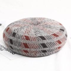 Fibonacci 2018 New Wool Women Beret Hats Brand Quality Fashion Striped Warm Female Caps Autumn Winter Berets