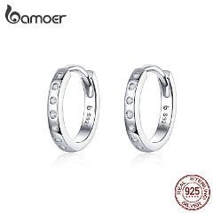 BAMOER Hoop Earrings for Women 925 Sterling Silver Minimalist Simple Circle Earing Real Silver Korean Fashion Jewelry BSE101