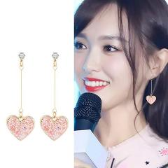 New Earrings Fashion Jewelry Popular Sweet Sequins Earrings For Women Heart-shaped Simple Personality Long Earrings Wholesale