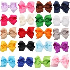 20PCS/Lot Solid Boutique Grosgrain Ribbon Girl Bow Elastic Hair Tie Clip Hair Band Bow DIY Hair Accessories Best Gift 2018