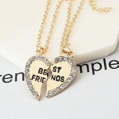 2019 Newest Hot Sale Fashion Heart Pendant Alloy Necklace Gold Silver Color two-piece Crystal Necklace Best Friends Necklace