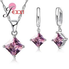 High Quality Zircon Geometric 3D Square Statement Necklace 925 Sterling Silver Drop Earrings Set For Lady Best Gift