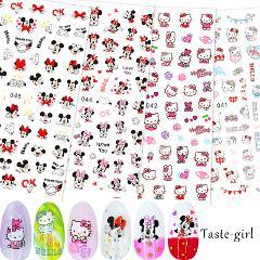 4 Sheets 3D Nail Slider cute cartoon Cat Mickey Nail Stickers Decals Adhesive Manicure Tips Nail Art Decorations  EB#