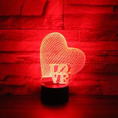 3D LED Night Light Valentine's Day Gift Love and Heart with 7 Colors Light for Home Decoration Lamp Amazing Visualization
