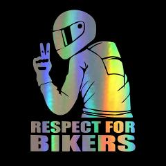 14x19cm respect biker car sticker funny car high viscosity sticker shape polyethylene applique 3D black white laser For BMW Ben