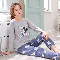 Casual woman cotton pajamas long sleeve suit cute girl student fashion pajamas 2 set of season card winter home clothing pyjamas