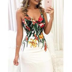 Summer Women Boho Floral Printed Dresses arrival Ladies Sleeveless Party Evening Long Maxi Dress 2018 Suspenders V-neck Dresses