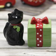 2PCS black cat salt and pepper shakers Garlic Roasters salt shaker spice container spice bottle black dog spice jar with gift