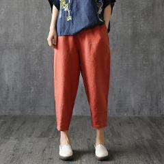 Summer Women's Linen Harem Pants For Women Pant Female Summer Cotton Linen Trousers Women Plus Size Loose Pants Capris White