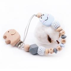 DIY Personalized Name Baby Pacifier Clip Chain Wooden Holder Soother Pacifier Clips Leash Strap pacifierholder dummy clip