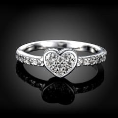 Mother's Day Gift Original Zircon Heart Ring 925 Jewelry Fashion Love Heart Rings For Women Wedding Jewelry