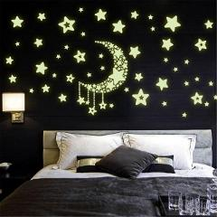 Luminous Fluorescent PVC Wall Stickers Mural Decal Stars Moon Home Decor Sticker  Baby Kids Nursery Bedroom Sticker