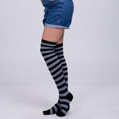 1Pair New Women Girls Over Knee Long Stripe Printed Thigh High Striped Patterned Socks 11 Colors Sweet Cute Warm Wholesale