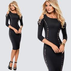 Sexy Cold Shoulder Sheath Bodycon Black Leopard Print Club Night Dress Casual Work Office Lady Pencil Dress HB483