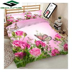 GOANG luxury bedding set bed sheet duvet cover pillow case 3d digital printing rose flower with butterfly home textiles Decor