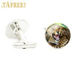 TAFREE cool wild animal Leopard glass cabochon cuff links powerful wildlife charms cufflinks for men jewelry father's gifts E598