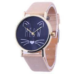 Ladies Cheap Watches Mens Clock Faux Leather Strap Quartz Wrist Watch Men Women's Cat Cartoon Watch Girl Birthday Gift #YL5