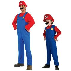 Umorden Halloween Costumes Men Super Mario Luigi Brothers Costume Kids Boys Jumpsuit Cosplay Party Game Carnival Fancy Dress