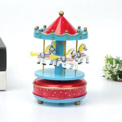 Lovely Carousel Music Box Rotary Trojan Music Box Wooden Craft Gift Ornaments Home Furnishing Trojan Box Musical Carousel