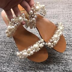 ZA Pearl Shoes Women Summer Slippers Women Pearl Decoration Slides Women Flat Slippers Women Elegant Party Slides Women