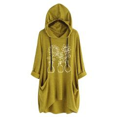M-XXXXXL lady T-shirt fashion long hooded trend print pocket short sleeve irregular large size shirt t-shirt#YL-5