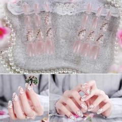24 Pcs Wedding Bride Full False Nails Tips White Flowers Short Round Transparent Fake Nail Art Manicure Tool Flower Fake Nails