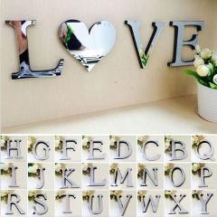 3D DIY Wall Stickers Acrylic Mirror Wall Sticker Alphabet English letters Home Decoration Creative Personality Special Decor