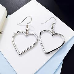 High Quality Long  Jewelry  Silvery Gifts Heart Golden Drop Earrings Sale Lovely Graceful Girls Drop Shipping Hollow Out Women