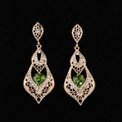 Vintage Hollow Out Pattern Gold-color Blue Cubic Zirconia New Drop Earrings For Bridal Wedding Jewelry Accessories