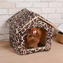 Pet Dog Bed Foldable Dog House Cat Cashmere House Printing Keep Warm Bed Cushion Travel pet house Kennel Puppy Mat Pet Supplies