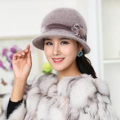oZyc Wool Women Bowler Winter Hat Fedora Bucket Cloche Round Cap 1920s Vintage Camel Flower Fashion elegant girls Warm hat