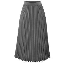 Fashion New Lady Women Summer Long Chiffon Skirt Elastic Waist Double Layer Midi Pleated Skirts