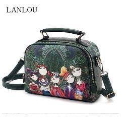 LANLOU handbag women shoulder bag luxury handbags women bags designer High-grade printing leather fashion women messenger bag