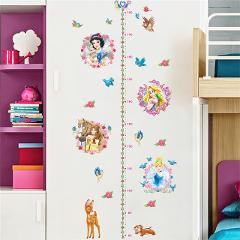 Snow White Anna Elsa Mermaid Rapunzel Cinderalle Belle Princess Growth Chart Wall Stickers Home Decor Kids Height Measure Decals