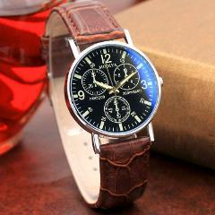 Men's Luxury Casaul Watches Quartz Analog Blue Glass Leather Band Wrist Watch