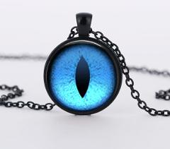 SUTEYI Red Cat Eye Necklace Charms Dragon Eyes Photo Glass Cabochon Pendnat Handmade Black Chain Necklaces Women Men Jewelry