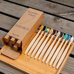 10Pcs/Set Toothbrush Eco-Friendly Rainbow Bamboo Soft Fibre Toothbrush Biodegradable Teeth Brush Solid Bamboo Handle Toothbrush