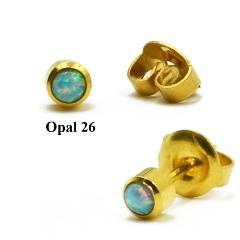BOG- Pair Surgical Steel Fashion Sterile 24K Gold Fire Opal Stud Earrings For Piercing Gun Opal Ear Stud piercing Body jewelry