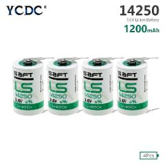 4 Pieces 3.6 V 1/2AA Size 14250 Li-SOCl2 14250 LS-14250 Battery With Soldering Pins For Measuring Instruments CNC Machine Tools