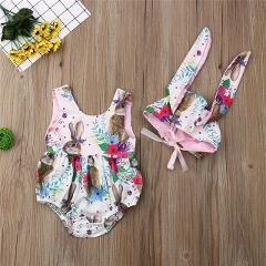 Newborn Baby Girls Rabbit Printed Romper 2019 Summer Toddler Baby Girls Easter Romper Bunny Ear Hat Outfit New Born Costume 0-2Y
