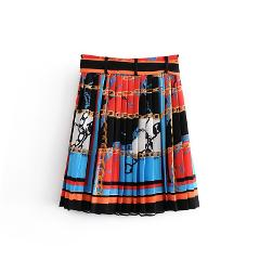 Z2019 Europe And America Spring New Style WOMEN'S Dress Charm Printed Pleated Short Skirt 2011/610 2011610