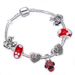 BAOPON Dropshipping Mickey Minnie Charm Bracelet With Nice Marano Beads Fit Original Pandora Bracelet For Kids Special Gift