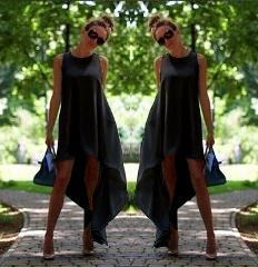 שמלת חוף א-סימטרית בסגנון בוהו
