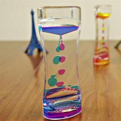 Double Colors Oil Hourglass Liquid Timer Floating Motion Bubbles Sand Watch Timer Flip Over Tracking Kids Living Room Desk Decor