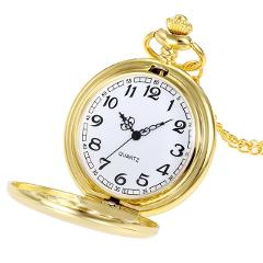 Hot vintage antique pocket watch fashion classic black silver gold glossy pocket watch Gender necklace stainless steel new 30*