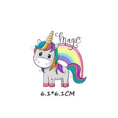 Cute Small Animal Unicorn Owl Dog Cat Patch for Clothing Sticker for Children Boy Girl DIY Patches T-shirt Heat Transfer Vinyl R