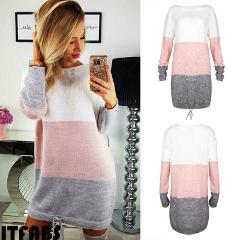 New 2019 Autumn Winter Women Long Sleeve Knit Cardigan Jumper Dress Tops Loose Casual Sweater Dress