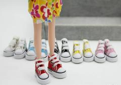 1Pair Cute Mini Doll Shoes Denim Canvas Shoes For Doll For Toy For Sharon Doll Boots Dolls Sneakers Accessories 3.5cm