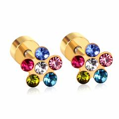 LUXUSTEEL Cute Baby/Girl/Ladies Earrings Gold/Silver Color Size 6mm Colorful and White Crystal Anti-allergy Screw Stud Earring