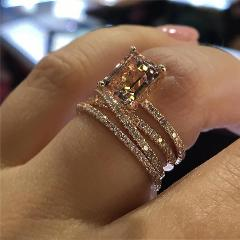 Luxury Champagne Engagement Ring Square Cubic Zirconia Exquisite Gifts Women Wedding Jewelry Gift for Friend
